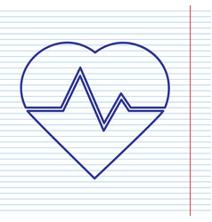 Heartbeat sign navy line vector