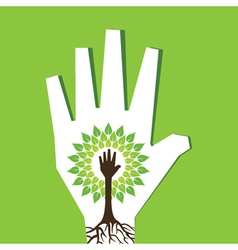Helping hand make tree inside the tree vector image vector image