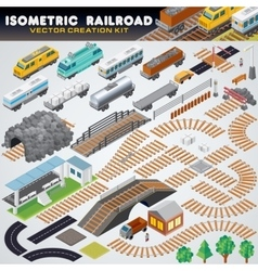 Isometric Railroad Train Detailed 3D vector image vector image
