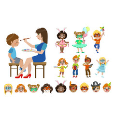Kids with painted faces set vector
