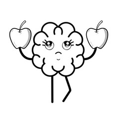 line icon adorable kawaii brain eating apple vector image