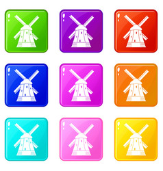 Mill icons 9 set vector