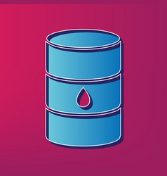 Oil barrel sign blue 3d printed icon on vector