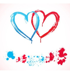 Paint hearts vector image vector image