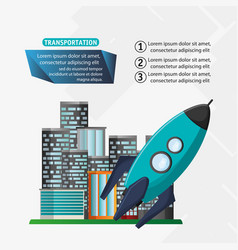 Rocket transport space with city background vector