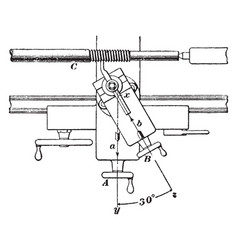 Screw cutting device using lathe vintage vector