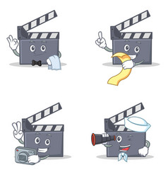Set of movie clapper character with waiter menu vector