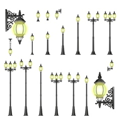 Set of street lanterns - isolated vector