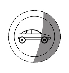 Silhouette circular sticker with vehicle vector