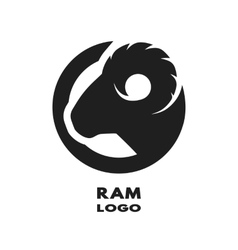 Silhouette of the ram monochrome logo vector image vector image