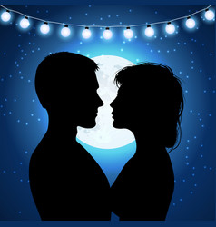 Silhouettes of couple on the moonlight background vector