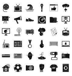 television icons set simple style vector image