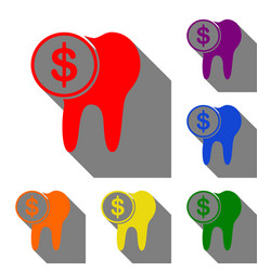 The cost of tooth treatment sign set of red vector