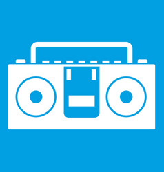 Vintage tape recorder icon white vector
