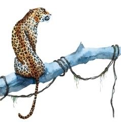 Watercolor leopard vector