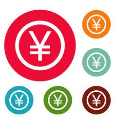 yen symbol icons circle set vector image vector image