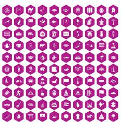 100 asia icons hexagon violet vector
