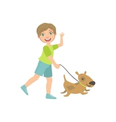Boy Walking A Dog On The Leash vector image