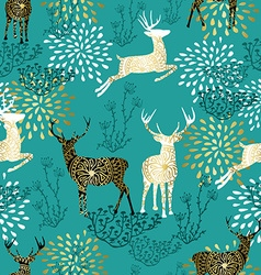 Christmas deer decoration pattern background vector image