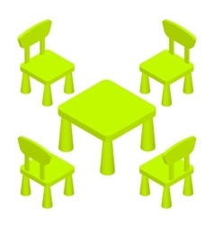 Isometric children play room interior furniture - vector