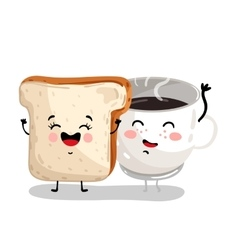 Funny toast bread and coffee cup cartoon character vector