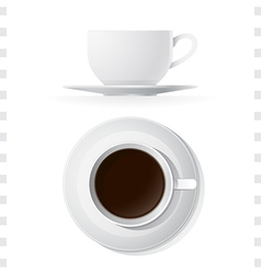 Coffee Cup Icons Top and Side View vector image
