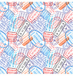 Many international travel visa rubber stamps vector