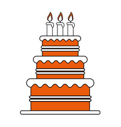 Color silhouette image cake with cream and candles vector
