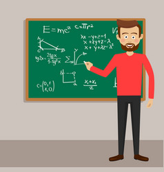 Male teacher in classroom next to blackboard vector