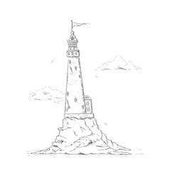 Lighthouse on rock vector