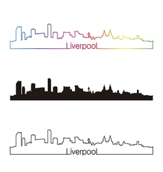 Liverpool skyline linear style with rainbow vector