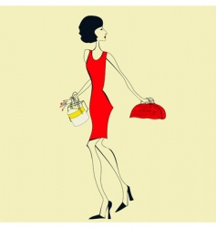 woman in a red dress vector image