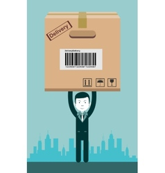 Businessman holding a package vector