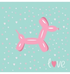 Dog balloon animal pink hearts bue background love vector