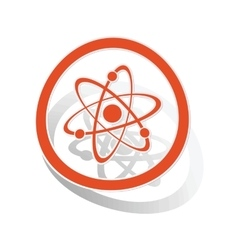 Atom sign sticker orange vector
