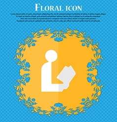 Read a book floral flat design on a blue abstract vector