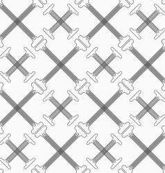 Shades of gray crossing double t shapes with vector