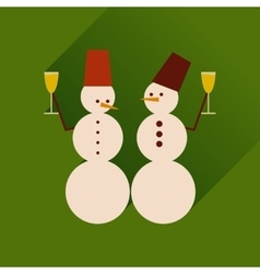 Flat web icon with long shadow snowmen vector