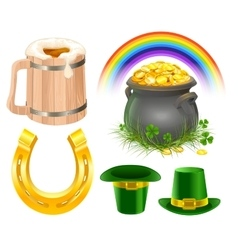 Patricks day symbols mug of irish beer rainbow vector