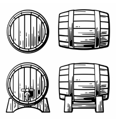 Wooden barrel set engraving vector