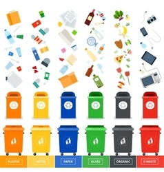 Trash cans with srted garbage vector