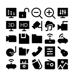 Multimedia icons 3 vector