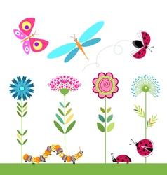 Set of flowers dragonfly ladybug butterfly caterpi vector