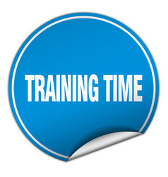 Training time round blue sticker isolated on white vector