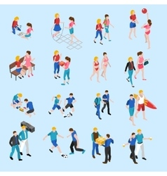 Friends isometric icons set vector