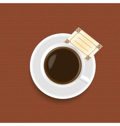 A cup of coffee with a card vector