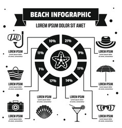 Beach infographic concept simple style vector