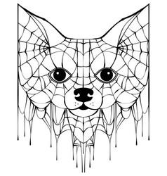 Black spiderweb silhouette head dog halloween vector