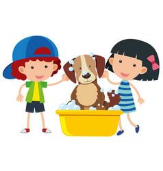 Boy and girl giving dog a bath vector