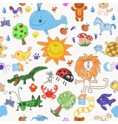 Childrens drawing doodle animals trees and sun vector
